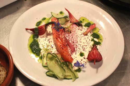 cured sea trout with creme fraiche, dill oil, pickled cucumber and candy cane beets