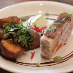 Pigs Head Terrine with smoked black garlic potatoes, seasonal salsa verde and grebiche