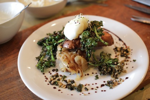 'Poorman's Asparagus, Richman's eggs' - pan fried kale stalks, with white wine onions, mushroomazing and creme fraiche on a toasted brioche with a slow poached  truffle egg